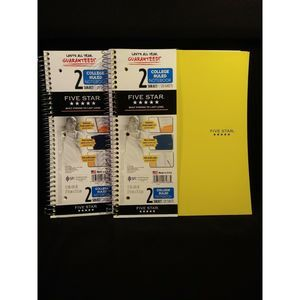 2 Five Star  2 Subject 120 Sheet College Rule